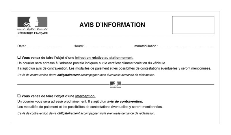 police municipale avis d 39 information de contravention avec mentions. Black Bedroom Furniture Sets. Home Design Ideas