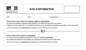 Avis d'information de contravention - avec mentions