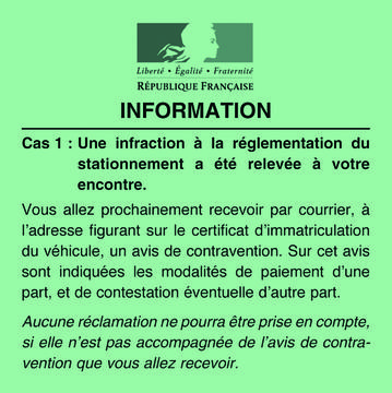 Avis d'information de contravention - Standard